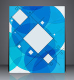 Abstract business brochure flyer, geometric design with squares and circles, in A4 size. Layout cover design in blue colors Stock Images