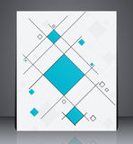 Abstract business brochure flyer, geometric design with squares, in A4 size. Layout cover design in blue colors stock illustration