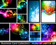 Abstract Business Card Collection:Flow of lights 2 Stock Photos