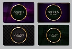 Abstract Business Card with Golden Frame Collection Set Vector Illustration. EPS10 Stock Photography
