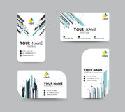 Abstract business card template with sample name position. city Royalty Free Stock Photos