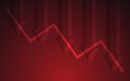 Abstract Business chart with downtrend line graph and arrows in stock market on gradient red color background Stock Photos