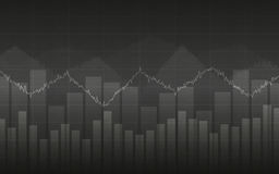 Abstract Business chart with line graph and bar chart in Sideways market on gray color background Stock Photo