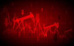 Abstract Business chart with Oil pumps and down arrows in stock market on gradient red color background Royalty Free Stock Photo