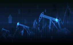 Abstract Business chart with Oil pumps and up arrows in stock market on gradient blue color background Stock Image