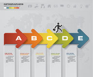 Abstract business chart. 5 Steps arrow diagram. Step by step idea. EPS10 stock illustration