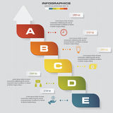 Abstract business chart. 5 Steps diagram template/graphic or website layout. Vector. Step by step idea stock illustration