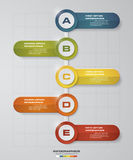 Abstract business chart. 5 Steps from lower to upper steps. diagram template/graphic or website layout. Vector. Stock Image