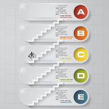 Abstract business chart. 5 Steps from lower to upper steps. diagram template/graphic or website layout. Vector. Step by step idea royalty free illustration