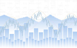 Abstract Business chart with trend line graph, bar chart and stock numbers on white color background Royalty Free Stock Images