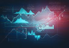 Abstract business chart with uptrend line graph stock image