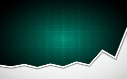 Abstract Business chart with uptrend line graph and stock numbers on green color background. Abstract Business chart with uptrend line graph and stock numbers in Stock Photo