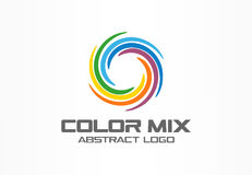 Abstract business company logo. Corporate identity design element. Color circle segments mix, round spectrum logotype. Idea. Multicolor art palette, paint swirl Royalty Free Stock Photo