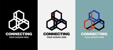 Abstract business company logo. Corporate identity design element. Technology, Social Media Logotype idea. People. Connect, Hexagon segment interaction stock illustration
