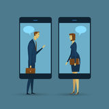 Abstract business concept of communication. Mobile communication. Social network the imparting or exchanging of information or news. Vector illustration flat Royalty Free Stock Photo