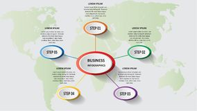 Abstract business 3d infographics in the form of colored ellipses connected with each other by lines and steps. EPS 10. Abstract business 3d infographics in the Royalty Free Stock Images