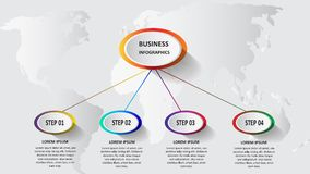 Abstract business 3d infographics in the form of colored ellipses connected with each other by lines and steps. EPS 10. Abstract business 3d infographics in the Stock Image