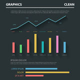 Abstract business flat  infographics template: chart graph. Abstract business flat style infographics concept dark background template. Line chart bar graph data Royalty Free Stock Photography