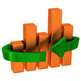 Abstract business graph with arrow 3d. Abstract orange business graph with green arrow 3d Stock Images