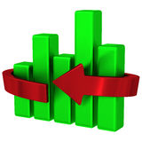 Abstract business graph chart 3d. Abstract green business graph with red arrow around 3d Royalty Free Stock Photo
