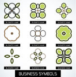 Abstract business green geometric symbols icon set Royalty Free Stock Image