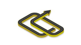 Abstract business infographics in the form of an automobile road with road markings. EPS 10. Abstract business infographics in the form of an automobile road Royalty Free Stock Photos