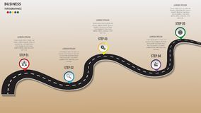 Abstract business infographics in the form of an automobile road with road markings, markers, icons and text. EPS 10. Abstract business infographics in the form royalty free illustration