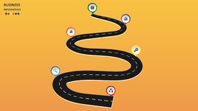 Abstract business infographics in the form of an automobile road with road markings, markers, icons and text. EPS 10. Abstract business infographics in the form stock illustration