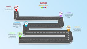 Abstract business infographics in the form of an automobile road with road markings, markers, icons and text. EPS 10. Abstract business infographics in the form vector illustration