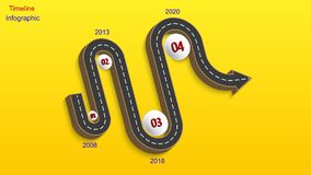 Abstract business infographics in the form of an automobile road with road markings, markers, icons and text. EPS 10. Abstract business infographics in the form Royalty Free Stock Photography