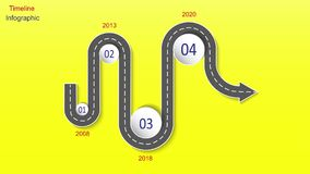 Abstract business infographics in the form of an automobile road with road markings, markers, icons and text. EPS 10. Abstract business infographics in the form Stock Image