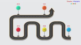 Abstract business infographics in the form of an automobile road with road markings, markers, icons and text. EPS 10. Abstract business infographics in the form Royalty Free Stock Photo