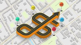 Abstract business infographics in the form of an automobile road with road markings, markers, icons and text. EPS 10. Abstract business infographics in the form Stock Photography
