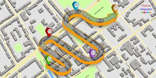 Abstract business infographics in the form of an automobile road with road markings, markers, icons and text. EPS 10. Abstract business infographics in the form Royalty Free Stock Photos