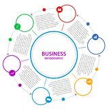 Abstract  Business infographics. Timeline with steps, circles, r. Abstract  Business infographics. Timeline with 6 steps, circles, rings. Vector illustration Stock Images