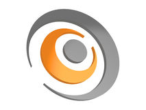 Abstract business logo in gray and orange colors. 3d Royalty Free Stock Photos