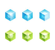 Abstract business logo set. cube  icons shapes. Design - blue and green color vector Stock Photo
