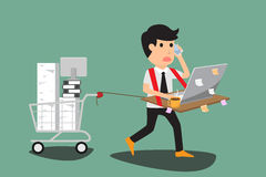 Abstract business man bearing his desk with working all time, ha Stock Image