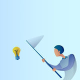 Abstract Business Man Catch Light Bulb With Butterfly Net New Creative Idea Concept. Vector Illustration Stock Photo