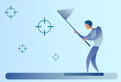 Abstract Business Man Catch Targets With Butterfly Net Aim Goal Concept. Vector Illustration Stock Photo