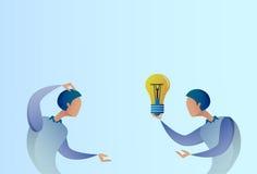 Abstract Business Man Giving Colleague New Creative Idea Concept Hold Light Bulb. Vector Illustration Stock Photos