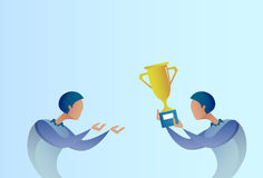 Abstract Business Man Giving Golden Cup Prize To Winner, Success Concept Royalty Free Stock Image
