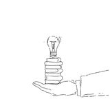 Abstract Business Man Hand Holding Light Bulb New Creative Idea Concept. Vector Illustration Royalty Free Stock Image