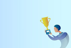 Abstract Business Man Hold Prize Winner Cup, Success Concept Royalty Free Stock Photo