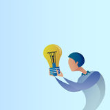 Abstract Business Man New Creative Idea Concept Hold Light Bulb. Vector Illustration Stock Images