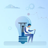 Abstract Business Man Sitting Light Bulb Working Laptop Computer Creative Idea Concept. Vector Illustration Royalty Free Stock Photo