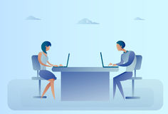Abstract Business Man And Woman Sitting At Office Desk Working Laptop Computer Royalty Free Stock Image