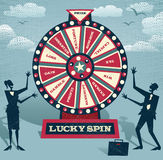 Abstract Business people with Financial Wheel of Fortune. Royalty Free Stock Images