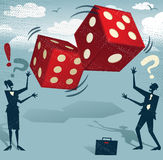 Abstract Business People with Gambling Dice of Fortune. Royalty Free Stock Photos