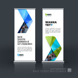 Abstract business vector set of modern roll Up Banner stand desi. Gn template with blue arrows, triangles for exhibition, fair, show, exposition, expo Stock Photography